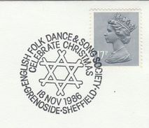 1986 GB COVER EVENT Pmk GRENOSIDE CHRISTMAS Folk DANCE & SONG Sheffield Stamps Music Theatre - Christmas