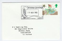 1985 19 Dec GB CHRISTMAS Telecom TECHNOLOGY EVENT COVER Pmk CHRISTMAS TREE Franked Christmas Stamps Telephone - Christmas