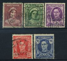Australia 1942 Mi. 163-167 Usato 100% Re Giorgio VI E La Regina Elisabetta - 1937-52 George VI