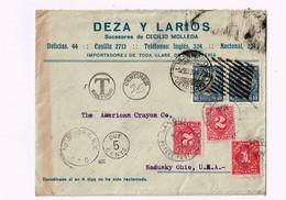 R) 1920 CHILE, SANTIAGO A SANDUSKY OHIO USA, MULTIPLE STAMPS - Chile