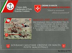 SMOM - Sovereign Military Order Of Malta - 2017 - Order Of Malta Rescue Team And Coastal Guard Cooperatio - Mint S/sheet - Malte (Ordre De)