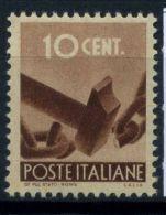 Italia Repubblica 1945 Sass. 543 Nuovo ** 80% Democratica 10 - 6. 1946-.. Republic