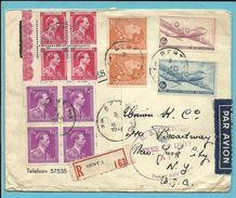 435A+528+641+701+LP 8+9 (Douglas) Op Brief  Per Luchtpost (avion) Aangetekend Stempel GENT Naar U.S.A. - 1936-1951 Poortman