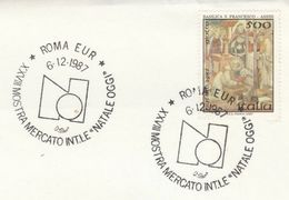 1987 ITALY Rome CHRISTMAS MARKET EVENT COVER Stamps - Christmas
