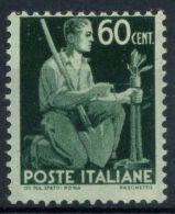 Italia Repubblica 1945 Sass. 548 Nuovo ** 100% Democratica 60 C. - 6. 1946-.. Republic