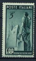 Italia Repubblica 1949 Sass. 601 Nuovo ** 40% ERP 5 L. - 6. 1946-.. Republic