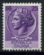 Italia Repubblica 1953 Sass. 715 Nuovo ** 100% Italia Turrita 25 L. - 6. 1946-.. Republic