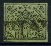 Stato Pontificio 1852 Sass. 3 Usato 100% Firmato Cardillo. 2 B. Verde Oliva - Papal States