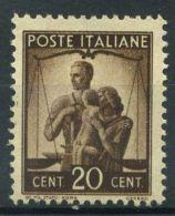 Italia Repubblica 1945 Sass. 544 Nuovo ** 100% Democratica 20 C. - 6. 1946-.. Republic