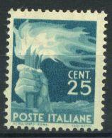 Italia Repubblica 1945 Sass. 545 Nuovo ** 100% Democratica 25 C. - 6. 1946-.. Republic