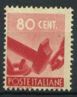 Italia Repubblica 1945 Sass. 549 Nuovo ** 100% Democratica 80 C. - 6. 1946-.. Republic