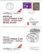Aérophilatélie - 1er Vol Airbus A310 (Swissair) Frankfurt / Zürich & Retour (2 Plis) - 26 Avr 83 - Vliegtuigen