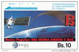 BOLIVIA(Tamura) - Satellite, Banco Popular, Used - Bolivia