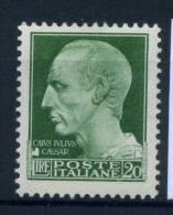 Italia Regno 1929 Sass. 259 Nuovo ** 100% Imperiale 20 L - 1900-44 Vittorio Emanuele III