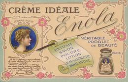 Carte Publicitaire Crême Idéale Enola Paris Produit De Beauté Eau De Toilette Brillantine - Témoignage Jeanne Rolly - Advertising