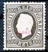 !■■■■■ds■■ Azores 1885 AF#59* Straight Label Type D 1000 Réis 12,5 CV 185,00 Euros (x11670) - Azores