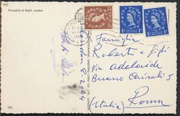 °°° 8958 - UK - LONDON - PICCADILLY AT NIGHT - 1954 With Stamps °°° - Piccadilly Circus