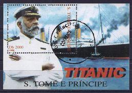 Sao Tome And Principe 1998 - The Boat Titanic And Her Commander ( Mi BL 377 - YT BFxxx ) - Sao Tome Et Principe