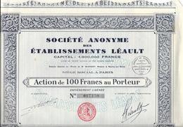 Action De Cent Franc Au Porteur - Etablissements Léault , Société Anonyme Française - Actions & Titres