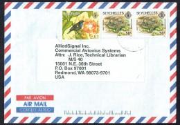 Air Mail Letter To USA  50c Turtle X2 1991 Imprint, R3 Sunbird SG 732, 821 - Seychelles (1976-...)