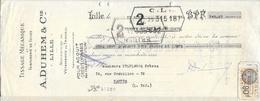 Mandat à Notre Ordre 1933 - Tissage Mécanique, Teinture De Toile A. Duhem & Cie Lille - Francia