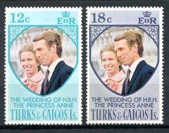 Turks And Caicos Islands, 1973, Royal Wedding Princess Anne, MNH, Michel 328-329 - Turks & Caicos (I. Turques Et Caïques)