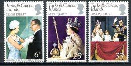 Turks And Caicos Islands, 1977, Silver Jubilee Queen Elizabeth II, MNH, Michel 364-366 - Turks & Caicos (I. Turques Et Caïques)