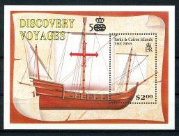 Turks And Caicos Islands, 1991, Discovery Of America, Columbus, Sailing Ship, MNH, Michel Block 97 - Turks & Caicos (I. Turques Et Caïques)