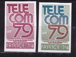 France 1979 N° 2055 Telecom 79  Non Dentelé Et Essai De Couleur - Ongetand
