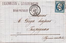 LAC Affr Y&T 22 Obl GC 1754 + TàD HAGUENAU Du 25 NOV 67 Adressée à Perpignan - Alsace Lorraine