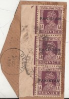 Pakistan  KG VI  1/2A X 3  Service Local  Print  Used  On Piece   #  01437   Sd  Inde  Indien - Pakistan