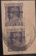 Pakistan  KG VI  1.5A X 2  Service Local  Print  Used  On Piece   #  01449    Sd  Inde  Indien - Pakistan