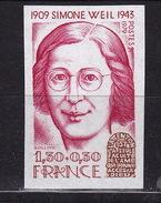 France  1979 N° 2032a Simone Weil Non Dentelé - France