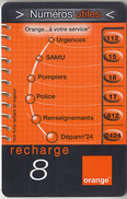 ÎLE DE LA RÉUNION  - RECHARGE - GSM & ORANGE  ***  NUMÉROS UTILES - 8 *** - Reunion