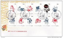 Christmas Island 2012 Year Of The Dragon Zodiac FDC - Christmas Island