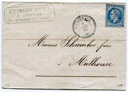 VOSGES De WISSEMBACH LAC Du 02/12/1868 N°29 Oblitéré GC 4344+ Dateur T 22 - Postmark Collection (Covers)