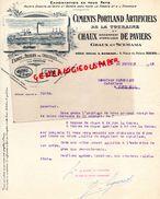 37-TOURS- RARE FACTURE CHAUX DE PAVIERS PAR CROUZILLES-GRAUX ET SCEMAMA-CIMENT-CIMENTS PORTLAND TOURAINE-4 PLACE PALAIS - Petits Métiers
