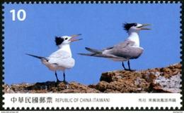 NT$10 2017 Taiwan Scenery - Matsu Stamp Crested Tern Bird  Migratory Island Rock WWF - Unused Stamps