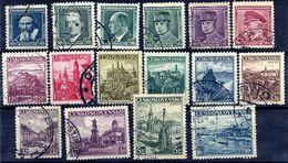CZECHOSLOVAKIA 1935-38 Portraits And Views Definitives  Used.  Michel 347-60, 386, 402 - Czechoslovakia