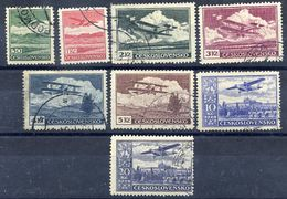 CZECHOSLOVAKIA 1930 Airmail Set Of 8 Used..  Michel 303-10 - Airmail