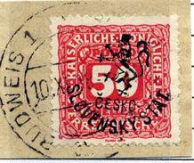 CZECHOSLOVAKIA 1918 Budejovice Local Handstamp On Postage Due 50 H. Used.  Michel 115 - Czechoslovakia