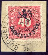 CZECHOSLOVAKIA 1918 Budejovice Local Handstamp On Postage Due 40 H. Used.  Michel 114 - Czechoslovakia