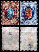 Russia-00164 - 1865:Y&T N. 14, 15 (o) Used - Senza Difetti Occulti. - 1857-1916 Impero