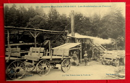 Cpa MILITARIA GUERRE 1914-1918 LES AMERICAINS EN FRANCE Matériel SCIERIE Forêt De.. ( Sans Doute à BRUYERES VOSGES ) - War 1914-18