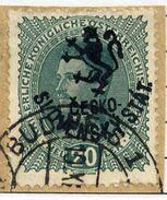 CZECHOSLOVAKIA 1918 Budejovice Local Handstamp On Karl I 20 H. Used.  Michel 105 - Czechoslovakia