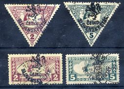 CZECHOSLOVAKIA 1918 Budejovice Local Handstamp On Express Stamps. Used.  Michel 100-03 - Czechoslovakia
