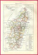 Carte De Madagascar Larousse 1907 - Vieux Papiers