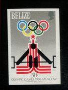 479718478 1979  ** MNH Yvert 451 1980 Moscow Summer Olympics Imperforated Stamp Scott 452 Michel 433 Weight Lifting - Belize (1973-...)