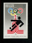 479718753 1979  ** MNH  1980 Moscow Summer Olympics Imperforated Stamp Scott 4545 Michel 435 Soccer - Belize (1973-...)