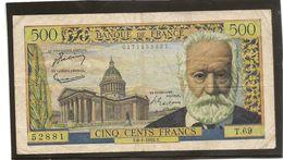France Billet De 500 Francs Victor Hugo Référence Fayet F 35 / 4 Du 6 01 1955  TB Plus - 1871-1952 Anciens Francs Circulés Au XXème